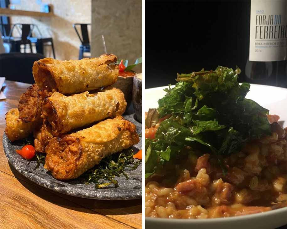 Os cannolis de leitão do La Vinícola e o risoto de linguicinha do Cabernet Butiquim