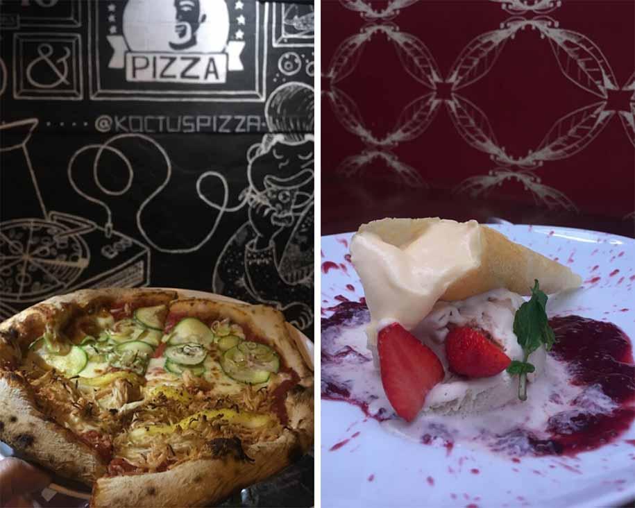 a pizza do Koctus Pizza e a melhor sobremesa italiana de BH_ o cannoli com sorvete da Domenico