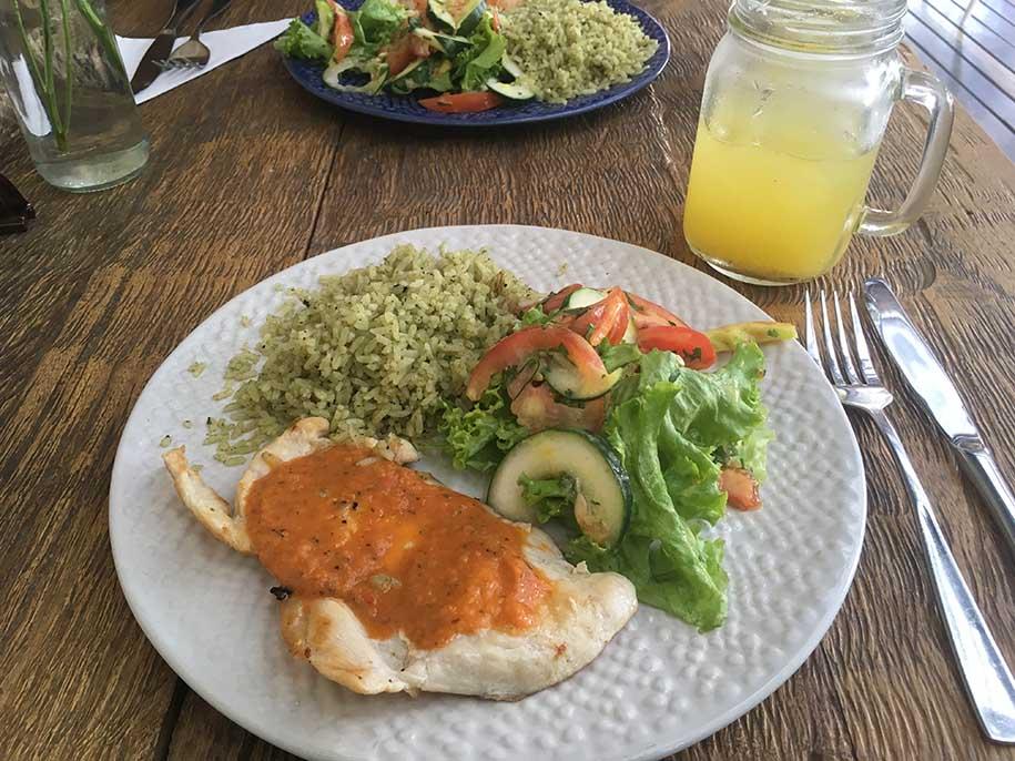 Prato principal do menu do dia do Gautama: comida barata, fresca e saudável com o temperinho da Colômbia Fotos do Paralelo 17: