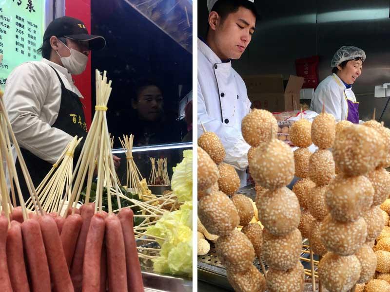 comida de rua em Xangai, na china