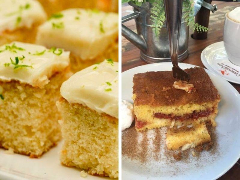 Bolinhos do buffet da Padaria-Vianney e a melhor broa com goiabada do mundo no Comercial Sabiá