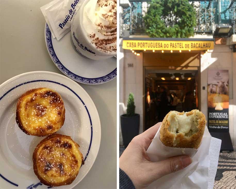classico mais antigo, pastel de belém, e o _novo clássico_ dos turistas, pastel de bacalhau