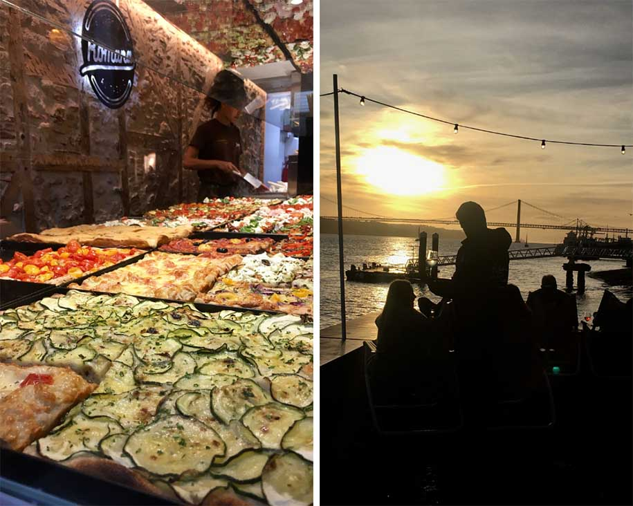 pizzas de rua e vista do ribeira das naus