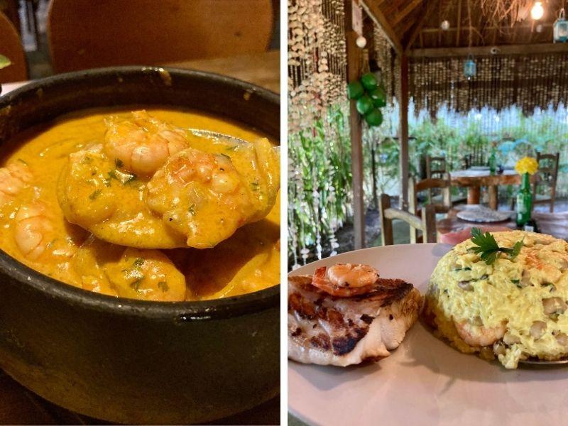 A moqueca de camarão do Jobar e o baião de dois de camarão do Delícias do Tapera, ambos em Carneiros